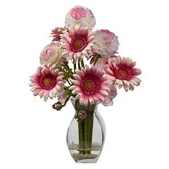 nearly natural Gerber Daisy & Ranunculus Delight Floral Arrangement