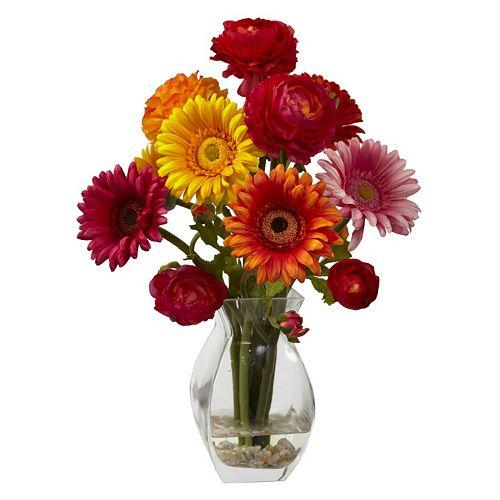 nearly natural Gerber Daisy & Ranunculus Delight Floral Arrangement