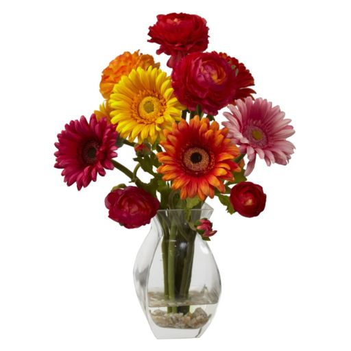 nearly natural Gerber Daisy and Ranunculus Delight Floral Arrangement