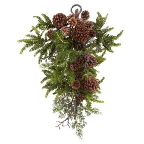 nearly natural Pine and Pinecone Christmas Teardrop Arrangement