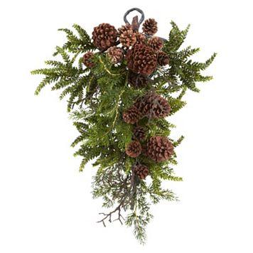 nearly natural Pine & Pinecone Christmas Teardrop Arrangement