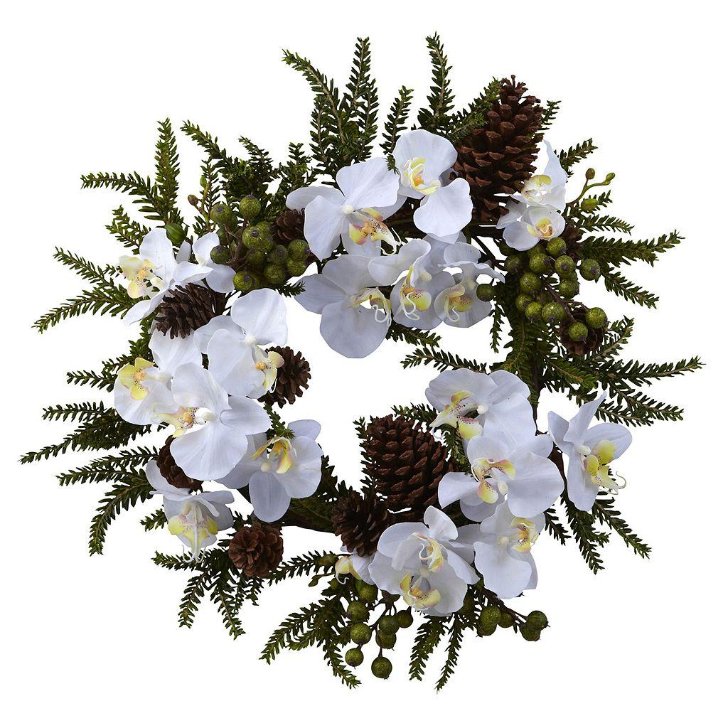 nearly natural Phalaenopsis & Pine Wreath