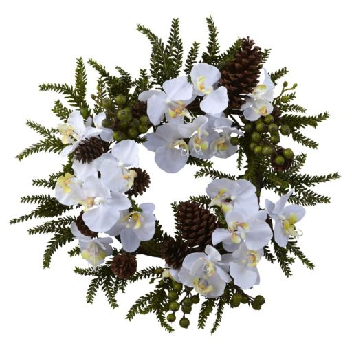 nearly natural Phalaenopsis and Pine Wreath