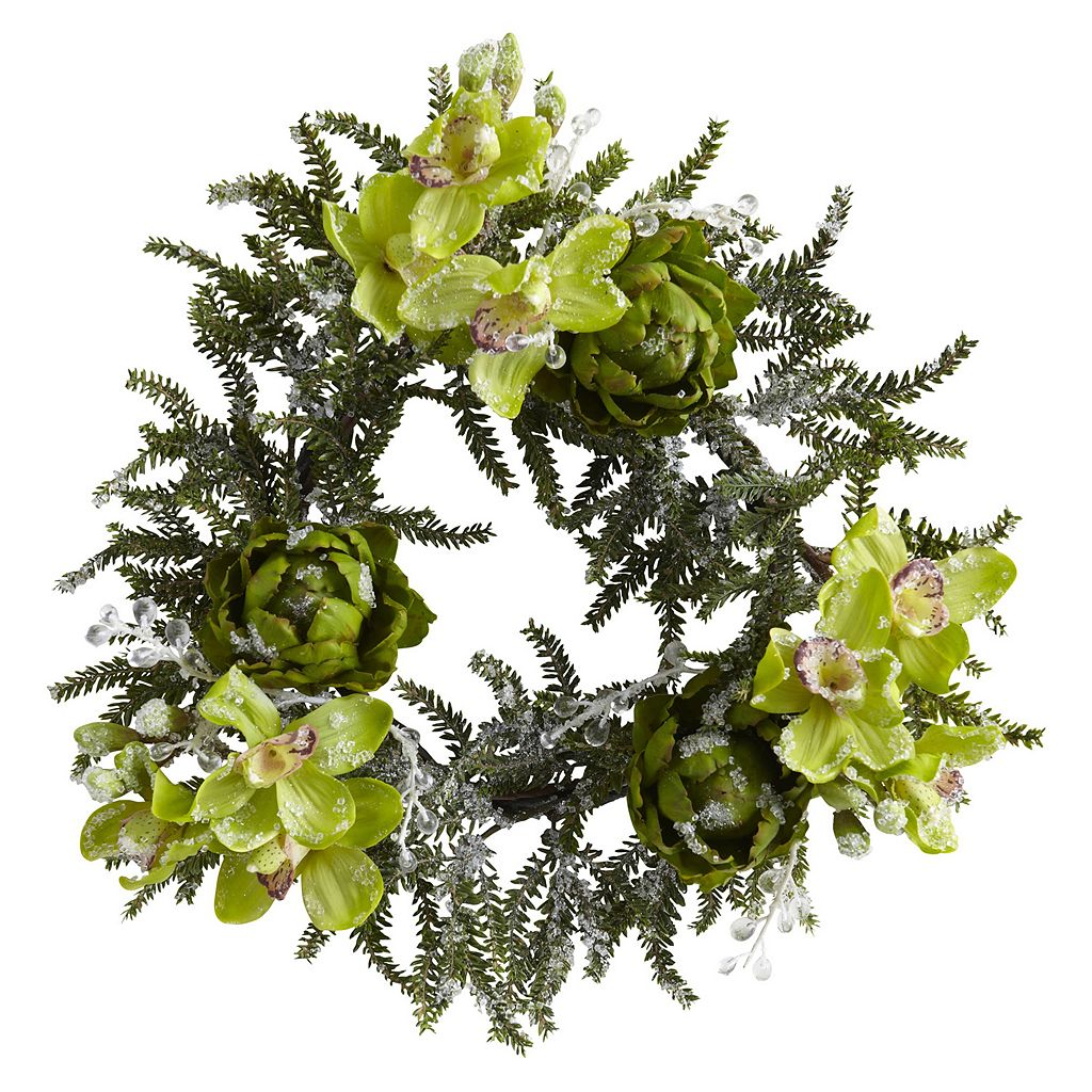 nearly natural Iced Cymbidium & Artichoke Wreath