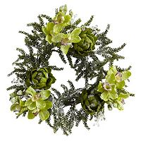 nearly natural Iced Cymbidium & Artichoke Wreath