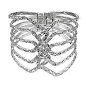 Textured Multi Row Hinged Bangle Bracelet