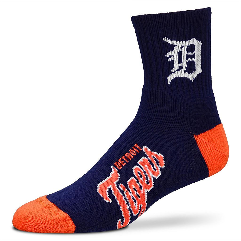 Adult For Bare Feet Detroit Tigers Team Color 1/4-Crew Socks