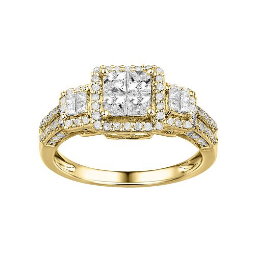 Diamond Square Halo Engagement Ring in 10k Gold (1 ct. T.W.)