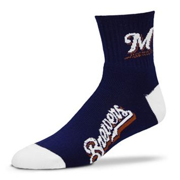 Adult For Bare Feet Milwaukee Brewers Team Color 1/4-Crew Socks