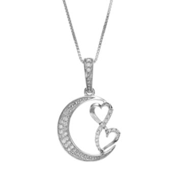 Love Is Forever Sterling Silver 1/7-ct. T.W. Diamond Double Heart and Moon Pendant