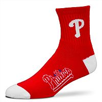 Adult For Bare Feet Philadelphia Phillies Team Color 1/4-Crew Socks