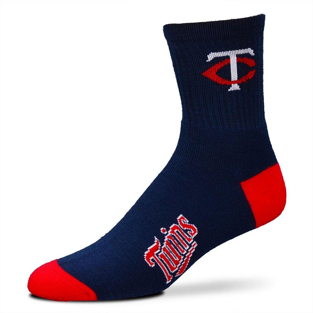 Adult For Bare Feet Minnesota Twins Team Color 1/4-Crew Socks