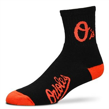 Adult For Bare Feet Baltimore Orioles Team Color 1/4-Crew Socks