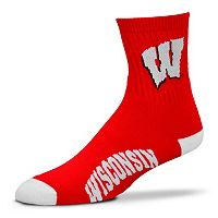 Adult For Bare Feet Wisconsin Badgers Team Color 1/4-Crew Socks