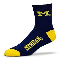 Adult For Bare Feet Michigan Wolverines Team Color 1/4-Crew Socks