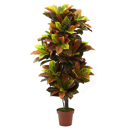 nearly natural 4.6-ft. Potted Croton Plant