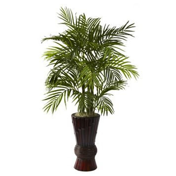 nearly natural 4-ft. Potted Areca Palm Tree with Bamboo Planter