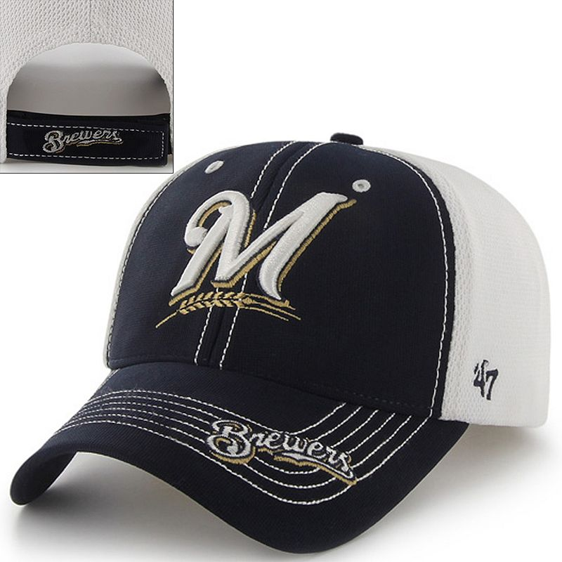 '47 Brand Milwaukee Brewers Flux MVP Adjustable Baseball Cap - Adult Size ONESIZE (Blue/Tan/White)