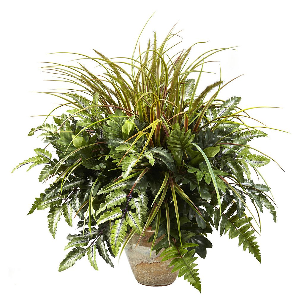 nearly natural 2.3-ft. Potted Mixed Greens & Grass Plant