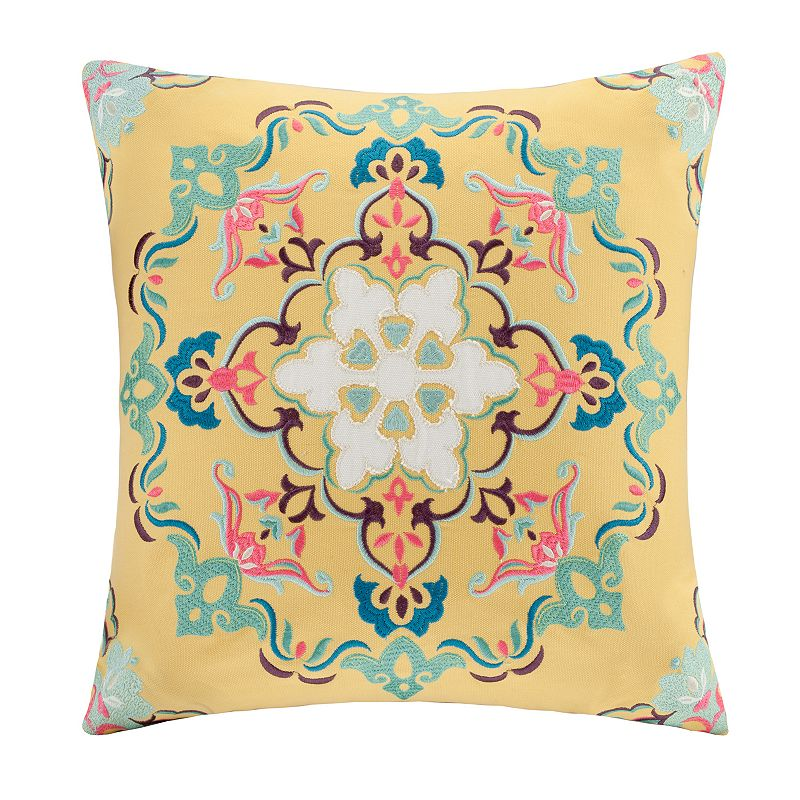 Kohls Yellow Throw Pillow : INTELLIGENT DESIGN MEDALLION EMBROIDERED DECORATIVE PILLOW - 20 X 20