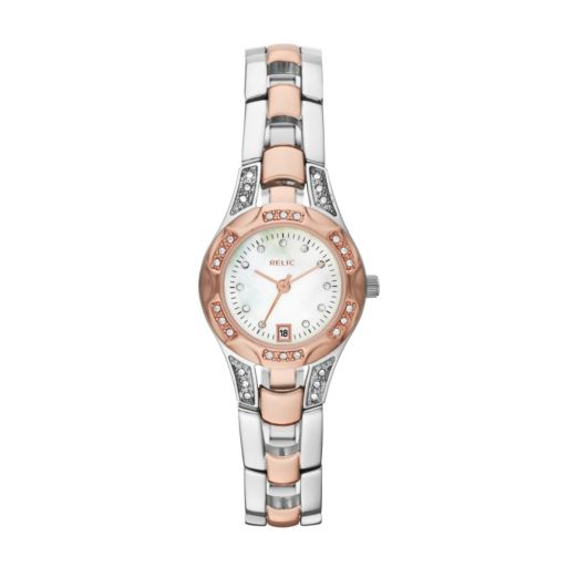 Relic Women's Charlotte Crystal Two Tone Stainless Steel Watch