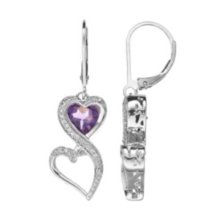 Love Is Forever Sterling Silver Amethyst and 1/10-ct. T.W. Diamond Double Heart Drop Earrings