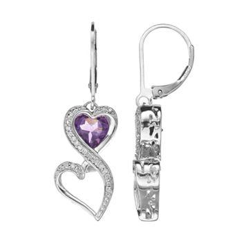 Love Is Forever Sterling Silver Amethyst & 1/10-ct. T.W. Diamond Double Heart Drop Earrings