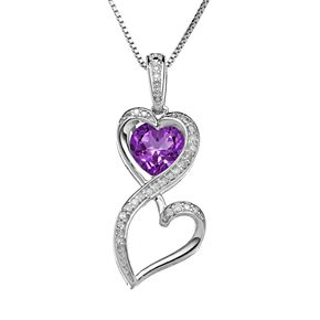 Love Is Forever Sterling Silver Amethyst and 1/10-ct. T.W. Diamond Double Heart Pendant