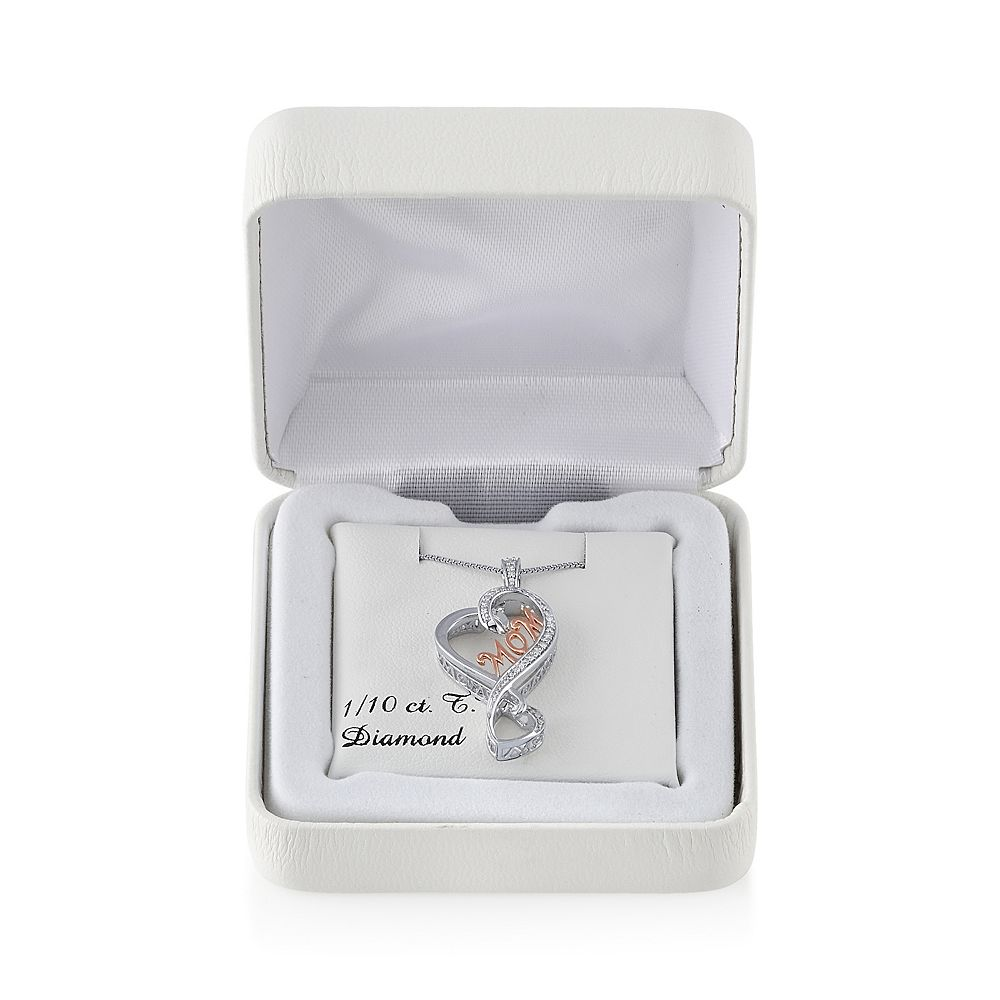 "Love Is Forever 14k Rose Gold Over Silver & Sterling Silver 1/10-ct. T.W. Diamond ""Mom"" Heart Pendant"