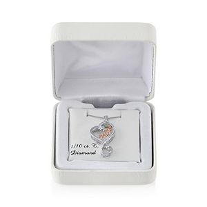 """Love Is Forever 14k Rose Gold Over Silver and Sterling Silver 1/10-ct. T.W. Diamond """"Mom"""" Heart Pendant"""