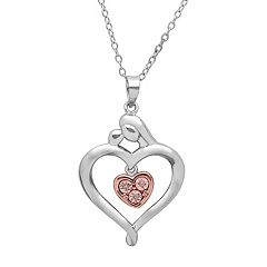 Rose Gold-Tone Sterling Silver & Sterling Silver Diamond Accent Motherly Love Heart Pendant