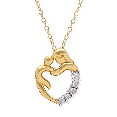 Gold-Tone Sterling Silver Diamond Accent Motherly Love Heart Pendant