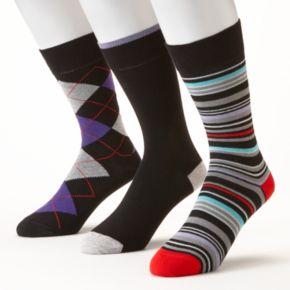Men's Lorenzo Raffinato 3-pk. Patterned Crew Dress Socks