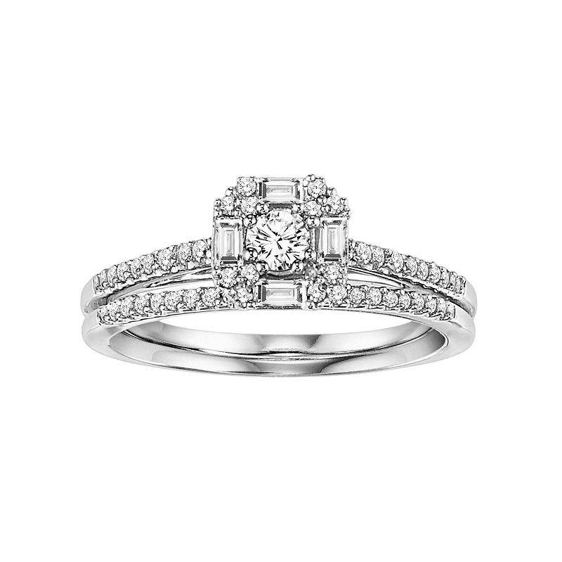 Cherish Always Diamond Engagement Ring Set in 10k White Gold (3/8 Carat T.W.)