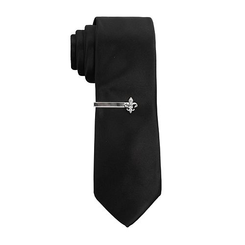 Men's Apt. 9® Solid Skinny Tie with Fleur de Lis Tie Bar