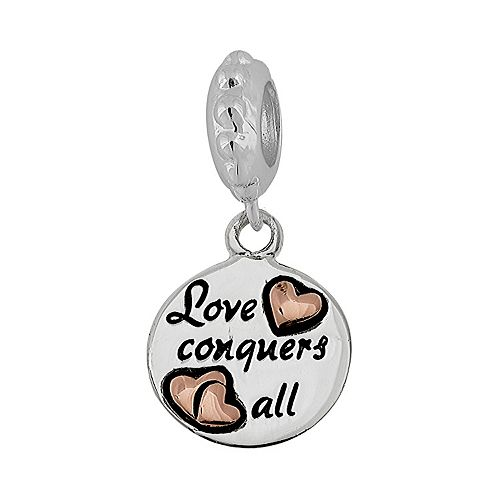 """Individuality Beads Sterling Silver & 14k Gold Over Silver """"Love Conquers All """" Disc Charm"""