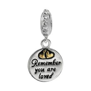 """Individuality Beads Sterling Silver & 14k Gold Over Silver """"Remember You Are Loved"""" Disc Charm"""