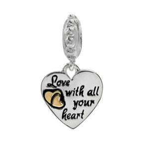 """Individuality Beads Sterling Silver & 14k Gold Over Silver """"Love With All Your Heart """" Charm"""