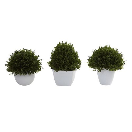 nearly natural 3-pc. Mixed Cedar Topiary Set