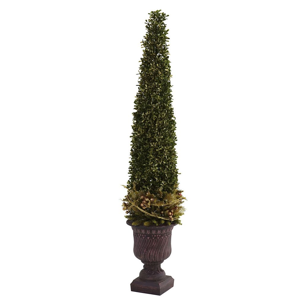 nearly natural 3 1/4-ft. Mixed Boxwood & Holly Topiary