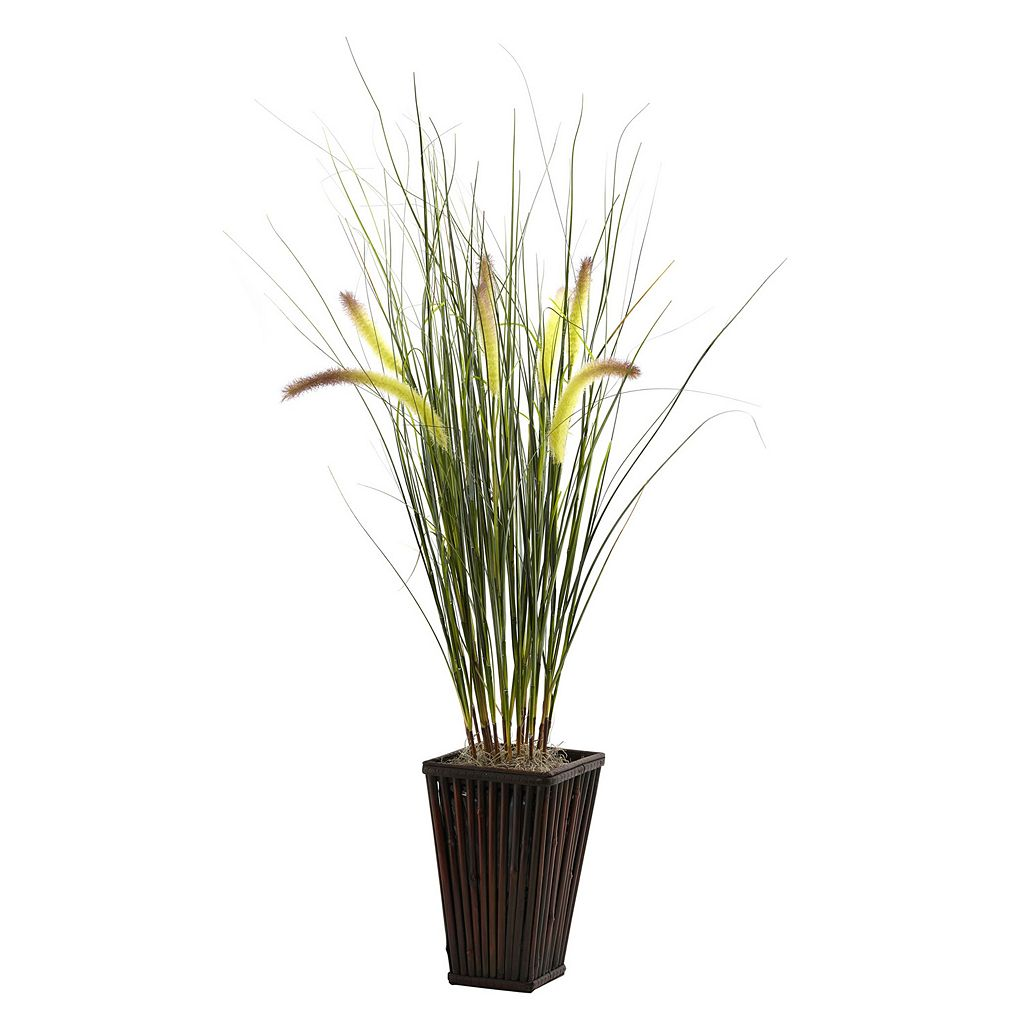 nearly natural Grass with Cattails Plant