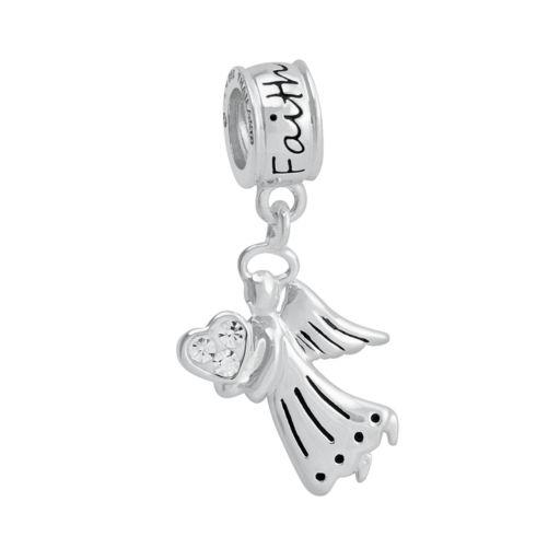 "Jewelry of Faith Sterling Silver Crystal ""Faith"" Angel Charm"
