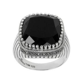 Lavish by TJM Sterling Silver Onyx Ring - Made with Swarovski Marcasite