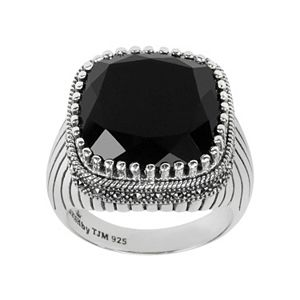 Lavish by TJM Sterling Silver Onyx Ring - Made with Swarovski Marcasite
