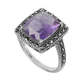 Lavish by TJM Sterling Silver Amethyst Halo Ring - Made with Swarovski Marcasite