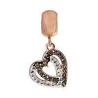 Individuality Beads Crystal 14k Rose Gold Over Silver Tilted Heart Charm