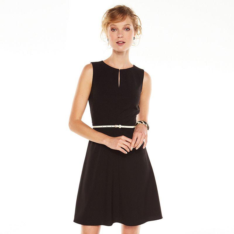 Dana Buchman Solid Fit & Flare Dress - Women's (Black)