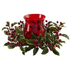 nearly natural Holly Berry Christmas Candelabrum