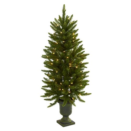 nearly natural 4 ft potted pre lit artificial christmas tree indoor