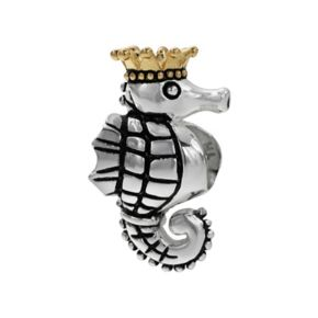 Individuality Beads Sterling Silver and 14k Gold Over Silver Seahorse Bead